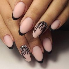 Beautiful evening nails, Black french manicure, Black pattern nails, Evening dress nails, Evening nails, Evening nails by shellac, Fashion french, French manicure