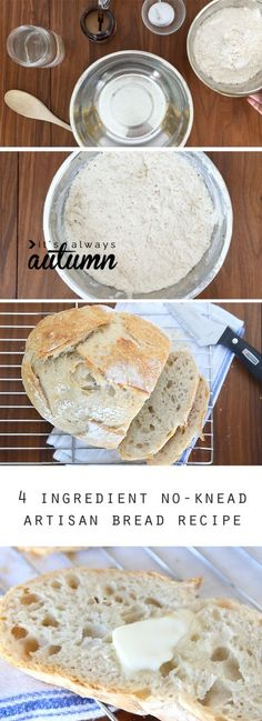 """Artisan Bread~3 c flour, 1 tsp salt, ½ tsp yeast & 1½ c warm water~ In a bowl, stir all ingredients until combined. Cover with plastic & set at room temperature for 8-24 hrs. Turn dough out onto well-floured surface & form into a ball. Rest for 30 mins. In meantime, place baking dish with high sides into 450°F oven. Slash """"X"""" on top of bread.  Carefully transfer to baking dish & cover. Bake 30 mins. Uncover & back 10-15 mins. more until golden brown.  Cool before slicing. *Recommended by…"""