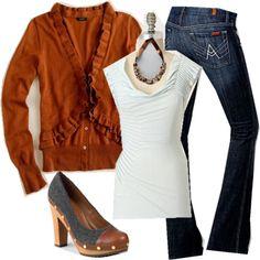 Burnt orange sweater and simple white tee over denim | perfect w color block navy booties