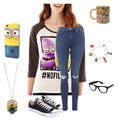 """Nerd Glasses"" by glittergorgeous1989 ❤ liked on Polyvore featuring Converse, Hybrid Tees and Topshop"