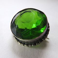 Antique Silver Green Stone Brooch by Charles Horner Hallmarked Chester 1914