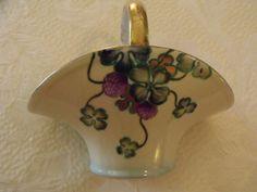 Vtg Noritake Japan Violets Porcelain Flower Basket Vase Gold Trim Blue 5.5x6.5