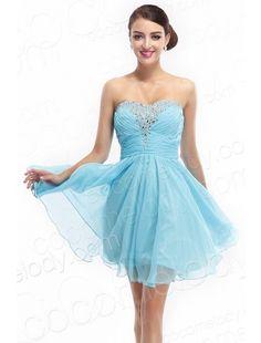 Sweet A Line Sweetheart Short Mini Blue Organza Cocktail Dress COZM14015   $69.00  Party Dress, Evening Dress, Prom Dress, Cocktail Dress, Celebrity Dress
