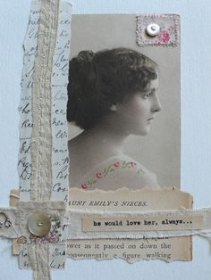 Simply designed heritage collage page with hand stitched border and button embellishments.