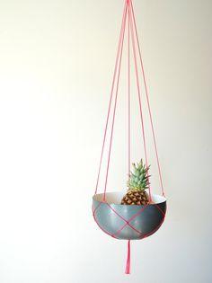 Simple Modern Long Macrame Plant Hanger // Simple Long Hanging Planter // Fruit Bowl Hanger // Simple Macrame Hanger for Large Pot