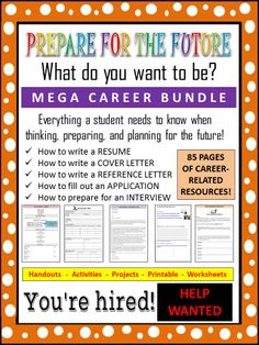 This 85-page student packet bundle provides students with information, handouts, activities, and projects that will help to introduce them to the skills necessary for obtaining a job or career.