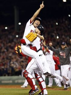 Red Sox savor title, and comfort of home Koji Uehara reacts with catcher David Ross after defeating the Cardinals in Game 6.