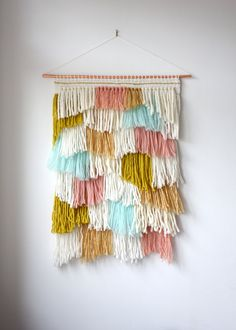 """Woven wall hanging / """"Shaggy Betty"""" / tapestry / large weaving / fringe weaving / large wall hangings / handwoven wall art / home decor"""
