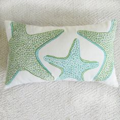 starfish pillow cover in aqua blue and green custom made 12x20 inch sea themed pillow on Etsy, $34.50