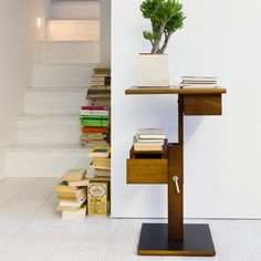 The Nuit is a transforming system, offering many functions in one piece. The Nuit can configured as needed, providing a shelf, table, desk or storage space.
