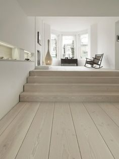 white washed oak floors ~with pale grey walls White Washed Oak, White Oak, White Washed Floors, Interior Architecture, Interior Design, Timber Flooring, Timber Planks, Hardwood Floors, Home And Living