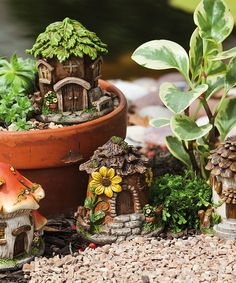 Love this Mini Fairy House Statue Set by Evergreen on #zulily! #zulilyfinds