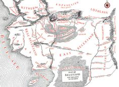 """Map Of Beleriand from Tolkien's """"The Silmarillion"""""""