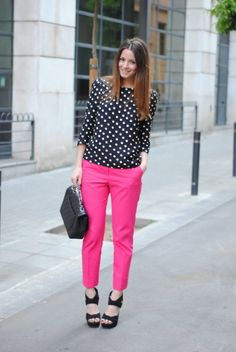 @Rachael Strathern | Pink pants and polka dots!