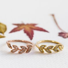 Band Rings – Dainty leaf Ring - Rosegold Open Ring – a unique product by crystalwong via en.DaWanda.com