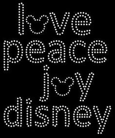 Joy Love Peace Disney Rhinestone Transfer DIY Handmade Bling. $9.00, via Etsy.