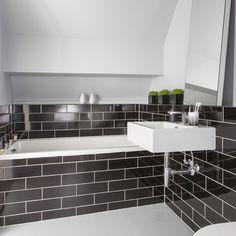 Monochrome metro tile bathroom
