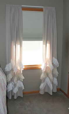 Drop Cloth/Painters Cloth Panels Coastal Shabby Chic Curtains with 3 Double Ruffles Nursery Curtains Girls Room Bed Crown by ShadesUpandCo on Etsy https://www.etsy.com/listing/155629249/drop-clothpainters-cloth-panels-coastal