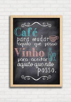 Poster Gourmet tipo Lousa - Café e Vinho - Sabrina Matias TO8327                                                                                                                                                      Mais