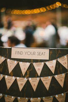 kraft bunting seating chart // photo by EmilyBlakePhoto.com