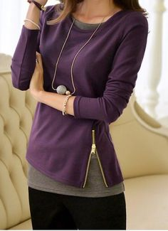 Casual Faux Twinset Jewel Neck Zipper Embellished Long Sleeves T-Shirt For Women T-Shirts | RoseGal.com Mobile