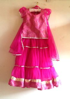Kids brocade and tulle pink lehenga by Bubblinga on Etsy