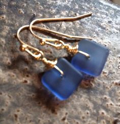 Min Favorit Sapphire Blue Sea Glass Square Bead & Gold Pl Artisan Drop Earrings #minfavorit