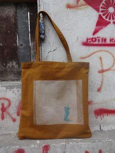 Cat Bag Canvas Tote Urban Hand Printed OOAK by koatye1 on Etsy