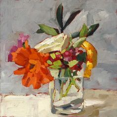 """Cheery colors for a very grey and rainy day.  8""""x8"""" on board          SOLD"""