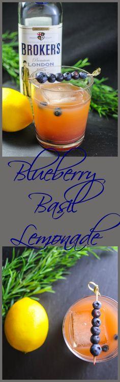 Blueberry Basil Lemonade Cocktail - gin or vodka, basil simple syrup, lemon juice, and blueberries!