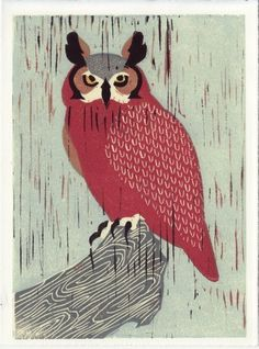 GREAT HORNED OWL linocut reproduction block print by annasee