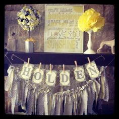 """Decor is cute- easy DIY. Good for a boy.  """"Yellow and Grey Baby Shower"""" 