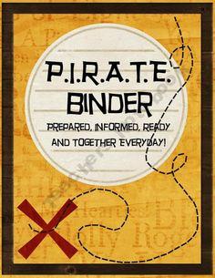 PIRATE organizational binder cover
