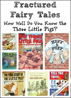 How well do you know the Three Little Pigs? Test your knowledge in this quiz and find more versions to enjoy in our fractured fairy tales book list! Traditional Literature, Traditional Tales, Fairy Tale Activities, Book Activities, Steam Activities, Preschool Activities, Fractured Fairy Tales, Fairy Tales Unit, Fairy Tale Theme