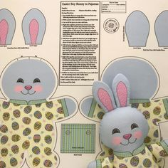 "It is time to sew the Bunnies!  ""Easter Boy Bunny in Pajamas"" is a Cut and Sew fat quarter project available in my Spoonflower shop. There is also a Girl Bunny with a ruffled skirt on her pajamas. Have them printed on Kona Cotton to make wonderful soft toys. Link in Profile."
