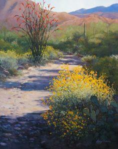 An oil painting of hiking Spur Cross Conservatory by artist Lucy Dickens Palm Desert, Desert Art, Watercolor Landscape, Landscape Art, Landscape Paintings, Cactus Art, Cactus Decor, Cactus Plants, Southwestern Art