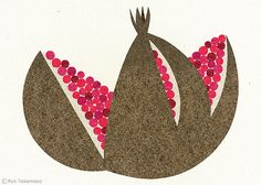 Pomegranate by Ryo Takemasa linocut Love the pink seeds, not over complexified...