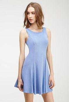 NWT - Women's FOREVER 21 Powder Blue Periwinkle Skater Mini Dress - Size Small S #FOREVER21 #Skater