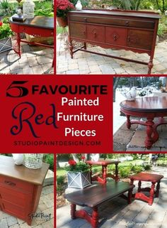 I so love the colour red and especially this time of year before the holidays! Here are my 5 favourite red painted furniture pieces. Annie Sloan Chalk Paint Furniture, Red Painted Furniture, Painted Buffet, Refinished Furniture, Furniture Refinishing, Painting Furniture, Furniture Makeover, Cheap Patio Furniture, Home Furniture