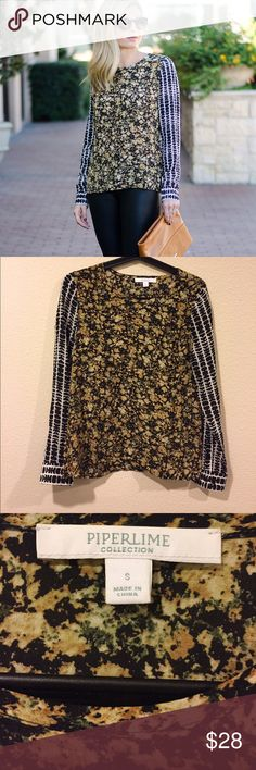 Piperlime mixed print blouse striped floral Very pretty and in great shape! From One Small Blonde blog closet. Piperlime Tops Blouses