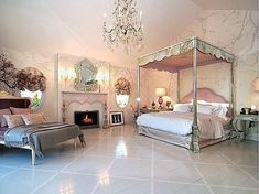 Gallery of luxury french provincial bedrooms utilizing this beautiful Parisian interior design style. Create your ultimate French bedroom from these ideas. Celebrity Bedrooms, Celebrity Houses, Purple Bedrooms, Guest Bedrooms, Master Bedrooms, Master Suite, Bedroom Suites, French Provincial Bedroom, Whimsical Bedroom