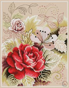 Zz Cross Stitch Pillow, Cross Stitch Boards, Cross Stitch Rose, Simple Cross Stitch, Cross Stitch Flowers, Embroidery Patterns Free, Cross Stitch Patterns, Cross Stitching, Cross Stitch Embroidery