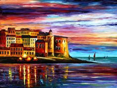 Art Gallery Painting - Italy-liguria - Palette Knife Oil Painting On Canvas By Leonid Afremov by Leonid Afremov Italy Painting, Palette Knife, Source Of Inspiration, Online Gallery, Art Gallery, Oil Painting On Canvas, Painting Clouds, Canvas Art, Canvas Paintings