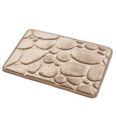 Non-slip bath mat,linen frame,side thickening memory cotton,water absorption and pressure bath mat,machine washable(Linen)
