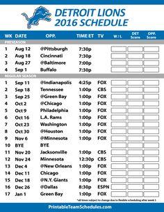 2016-17 Detroit Lions Schedule