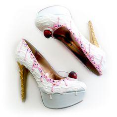 Vanilla Ice Cream Heels/ Pink Syrup