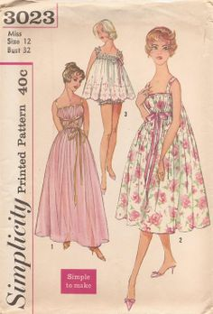 Vintage Sewing Patterns I own this one! Simplicity 3023 Misses Feminine Grecian Nightgown Baby Doll Pajamas Pattern EZ Womens Vintage Sewing Pattern Size 18 Bust 38 Dress Making Patterns, Vintage Dress Patterns, Clothing Patterns, Vintage Dresses, Vintage Outfits, Vintage Fashion 1950s, Mode Vintage, Vintage Hats, Victorian Fashion