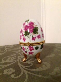Vintage Porcelain Footed Purple Floral Design trinket Box by cappelloscreations, $25.00 @Etsy