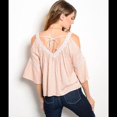 "Oh so pretty open Sleeve Top  Get ready for spring in this  Dusty Pink top its adorable with jeans as shown on pic or leggings. They are 100% Rayon L: 23"" B: 16"" W: 14"" Please don't buy from this post. I will create a post for you. Thank You!  Tops Blouses"
