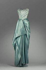 seafoam/teal 1940s evening dress
